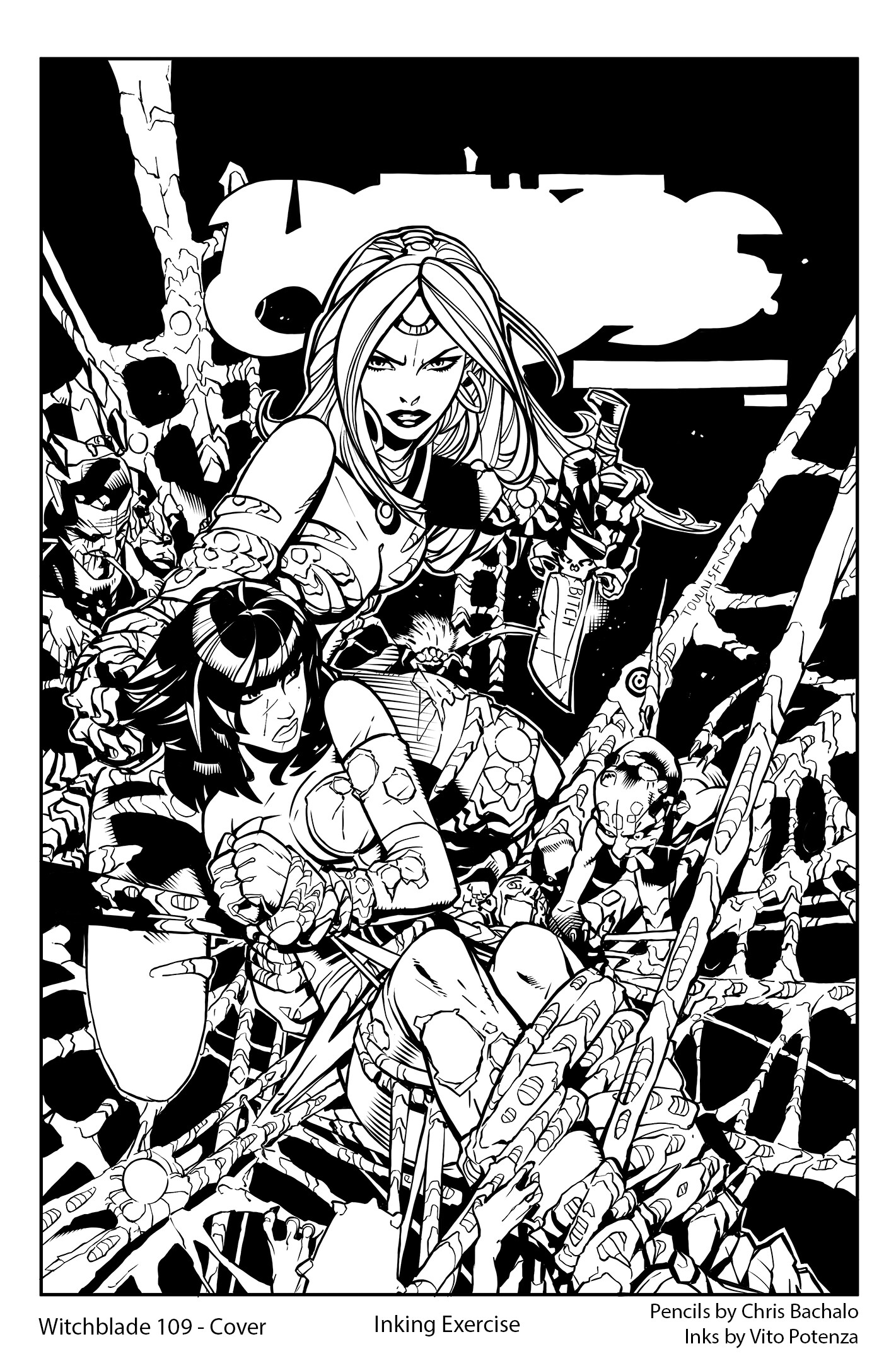 Witchblade #109 Cover – Inking Exercise
