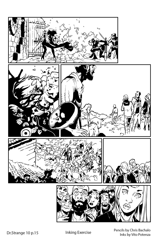 Dr.Strange #10, page 15 – Inking Exercise