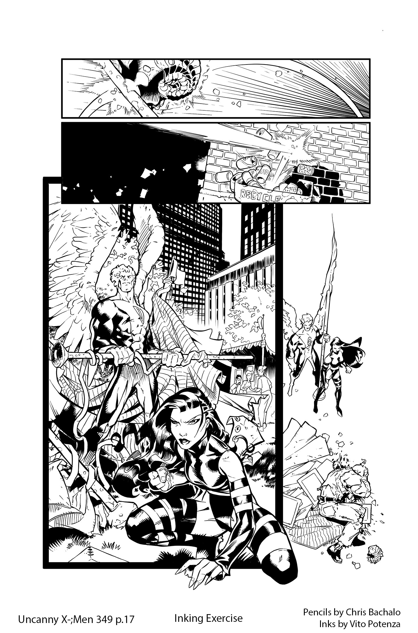 Uncanny X-Men #349, page 17 – Inking Exercise